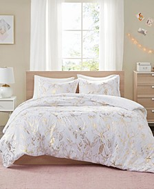 Magnolia Metallic Floral 3-Piece Full/Queen Duvet Cover Set
