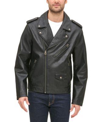 Men's Classic Asymmetrical Faux-Leather Motorcycle Jacket