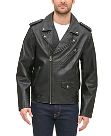 Men's Classic Asymmetrical Faux-Leather Motorcycle Jacket