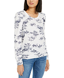 INC Printed Puff-Sleeve Sweatshirt, Created for Macy's