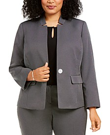 Plus Size Dot-Print Blazer