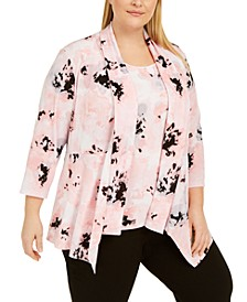 Plus Size Printed Open-Front Sweater