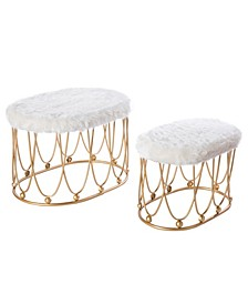 Oval Shaped Wood and Gold-Tone Metal Stool with Fur Top, Set of 2