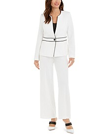 Collarless Piped Jacket And Wide-Leg Dress Pants