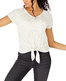 Hippie Rose Juniors' Floral-Print Tie-Front T-Shirt