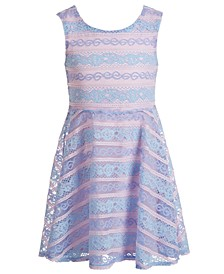 Toddler Girls Bow-Back Striped Lace Dress, Created for Macy's