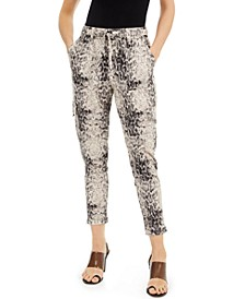 INC EARTH Snake-Printed Joggers, Created for Macy's