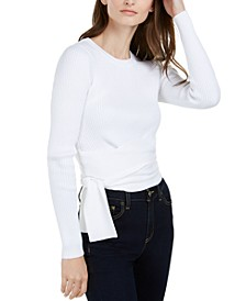 Ribbed Tie-Waist Sweater