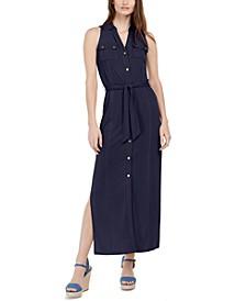Tie-Waist Sleeveless Shirtdress, Regular & Petite