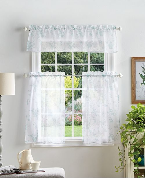 Martha Stewart Collection Martha Stewart Bellefield Floral Valance & Tiers Set