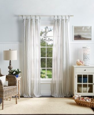 "Martha Stewart Laguna Stripe 37"" x 84"" Tie Tab Curtain Set"