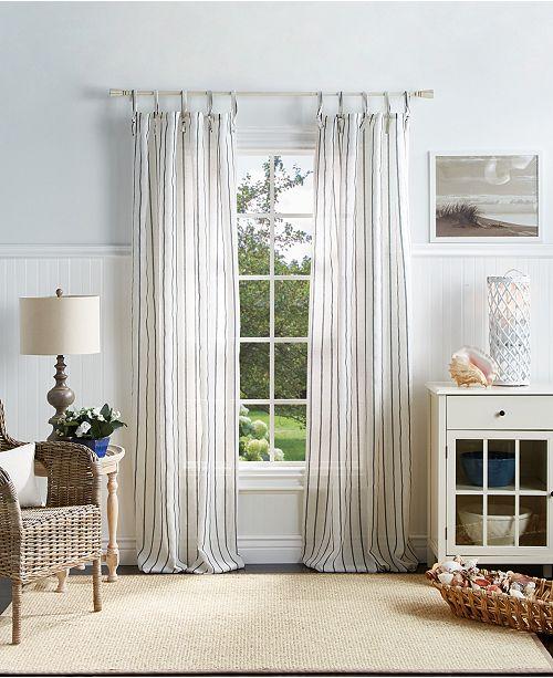 "Martha Stewart Collection Martha Stewart Laguna Stripe 37"" x 84"" Tie Tab Curtain Set"