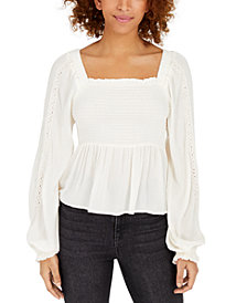 Polly & Esther Juniors' Crochet-Sleeve Peasant Top