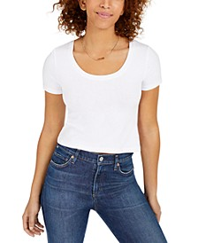 Juniors' Cropped Scoop-Neckline T-Shirt