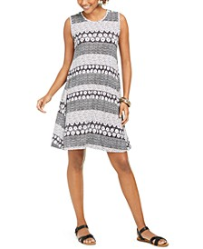 Petite Sleeveless Printed Sheath Dress, Created for Macy's