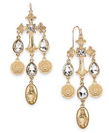Gold-Tone Crystal Cross Chandelier Earrings, Created for Macy's