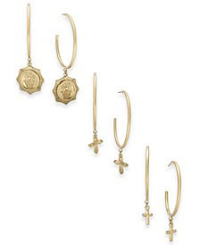 Gold-Tone 3-Pc. Set Cross Charm Hoop Earrings, Created for Macy's