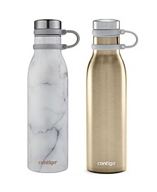 Couture 20-Oz. Thermalock Stainless Steel Water Bottles, Set of 2, Marble/Chardonnay