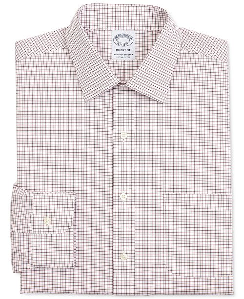 Brooks Brothers Men's Regent Slim-Fit Non-Iron Performance Stretch Check Supima Cotton Dress Shirt