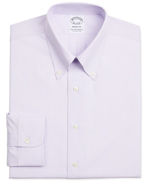 Brooks Brothers Men's Regent Slim-Fit Non-Iron Performance Stretch Supima Cotton Striped Dress Shirt