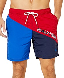 "Men's Diagonal Colorblock 8"" Swim Trunks, Created for Macy's"