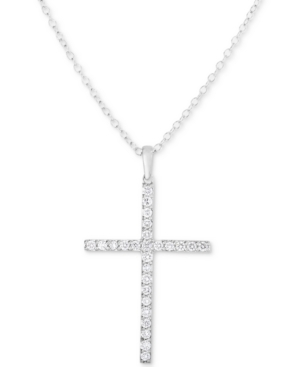 Lab-Created Diamond Cross Pendant Necklace (1/2 ct. t.w.) in Sterling Silver