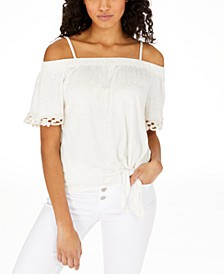 Juniors' Tie-Front Off-The-Shoulder Top