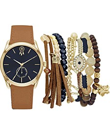 Women's Cognac Faux Leather Strap Watch 36mm Gift Set