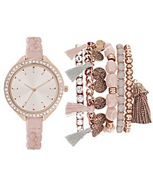 Women's Blush Braided Faux Leather Strap Watch 40mm Gift Set