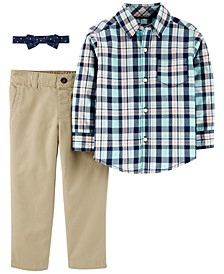 Toddler Boys 3-Pc. Cotton Plaid Shirt, Solid Pants & Dot-Print Bow Tie Set