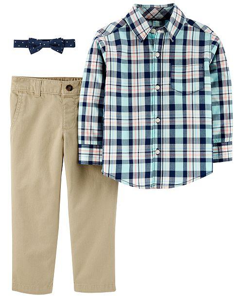 Carter's Toddler Boys 3-Pc. Cotton Plaid Shirt, Solid Pants & Dot-Print Bow Tie Set