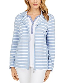 Petite French Terry Striped Jacket, Created for Macy's