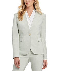 Petite Twill Collarless One Button Blazer