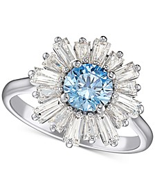 Silver-Tone Crystal Flower Sunshine Statement Ring