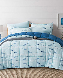 UNIKOME Printed Reversible Down Alternative Year Round 3-Piece Comforter Set, King