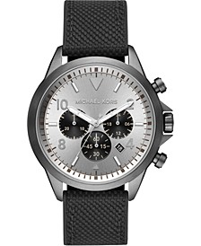Men's Chronograph Gage Black Nylon & Silicone Strap Watch 45mm