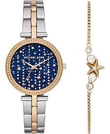 Women's Maci Two-Tone Stainless Steel Bracelet Watch 34mm Gift Set