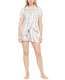 Striped Shirt & Shorts Pajama Set