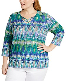 Plus Size Costa Rica Printed Top