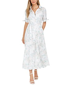 Cotton Floral-Print Maxi Shirtdress