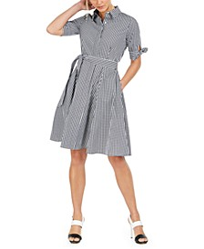 Petite Cotton Plaid Shirtdress