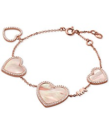 14k Rose Gold-Plated Sterling Silver Cubic Zirconia & Mother-of-Pearl Heart Logo Bracelet