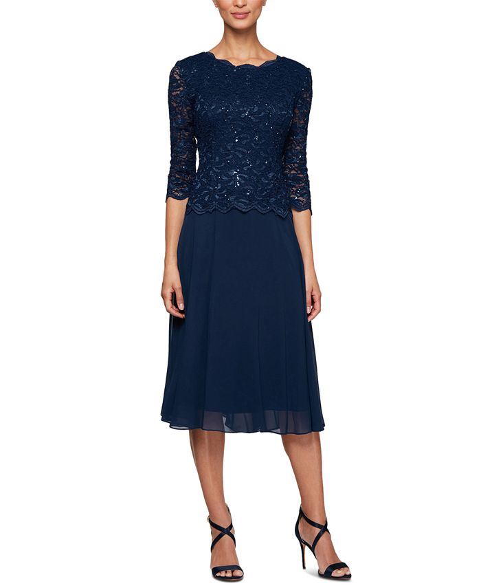 Alex Evenings - Sequined Lace Contrast Dress