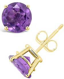 Round-Cut Gemstone Stud Earrings in 14K Yellow Gold