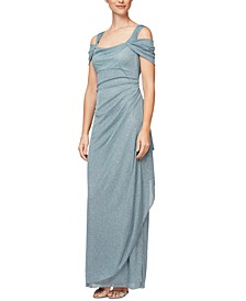 Cold-Shoulder Draped Metallic Gown, Regular & Petite Sizes