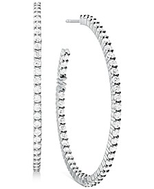 Sterling Silver Medium Cubic Zirconia Hoop Earrings, 1.62""