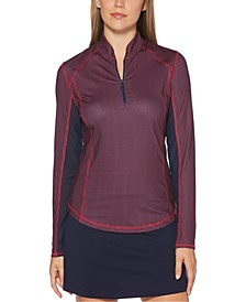Grid-Print Colorblocked Quarter-Zip Golf Top