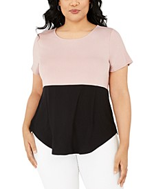 Plus Size Colorblock T-Shirt, Created for Macy's
