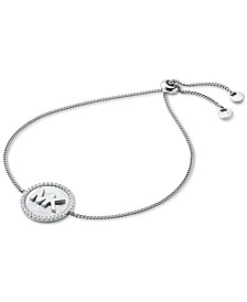 Sterling Silver Cubic Zirconia & Mother-of-Pearl Logo Slider Bracelet