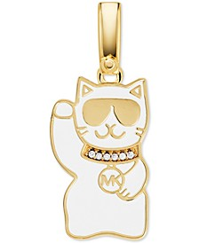 14k Gold-Plated Cubic Zirconia Lucky Cat Charm